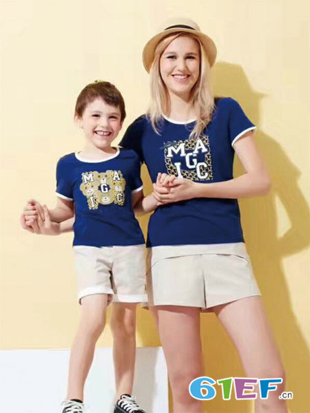 上流贵族童装品牌2018春夏蓝色休闲字母卡通印上衣
