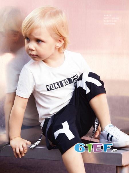YukiSo童装品牌2018夏季休闲字母短袖男T恤