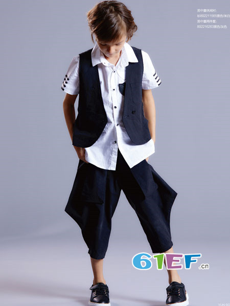 YukiSo童装品牌2018夏季休闲个性短袖三件套男套装