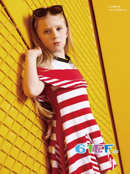 YukiSo童装品牌2018夏季欧式优雅条纹一字领连衣裙