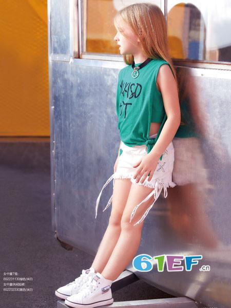 YukiSo童装品牌2018夏季个性休闲字母短袖女T恤