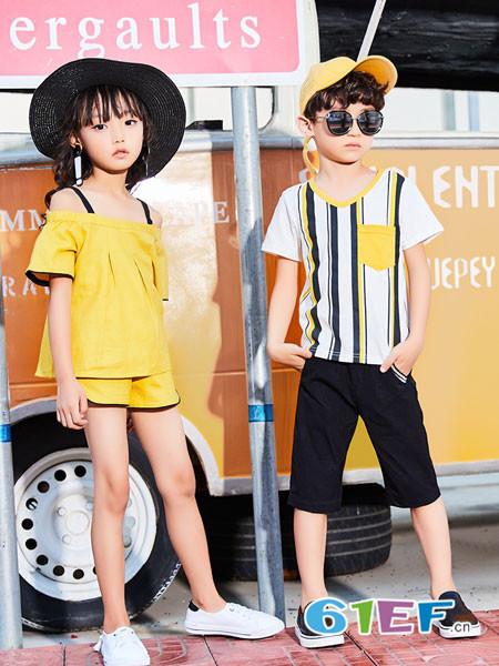 卡儿菲特童装品牌2018夏季休闲纯色宽松女童露肩吊带上衣