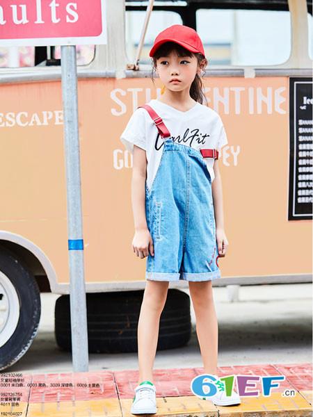 卡儿菲特童装品牌2018夏季牛仔休闲修身背带裙