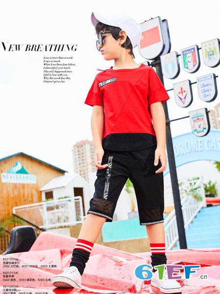 卡儿菲特童装品牌2018夏季红色休闲男童时尚百搭上衣