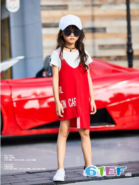 卡儿菲特童装品牌2018夏季不规则修身女童背带裙