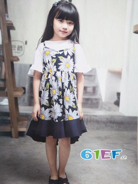 青稚童装品牌2018春夏韩式碎花吊带拼接连衣裙