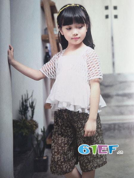 青稚童装品牌2018春夏时尚优雅气质镂空袖雪纺女上衣