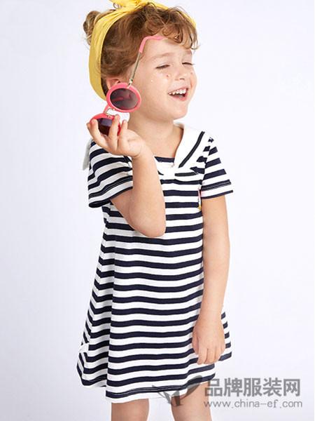 dishion的纯童装2018夏季条纹休闲中小童连衣裙