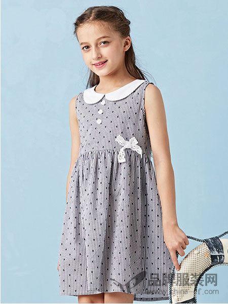 dishion的纯童装2018夏季无袖修身时尚连衣裙