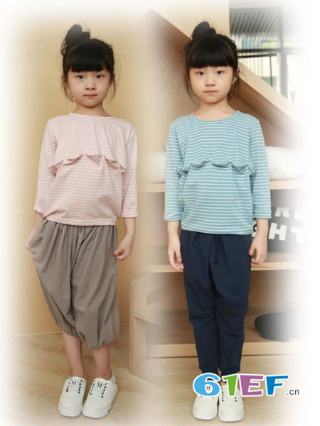 NNE&KIKI童装品牌2018春夏条纹时尚女童百搭上衣