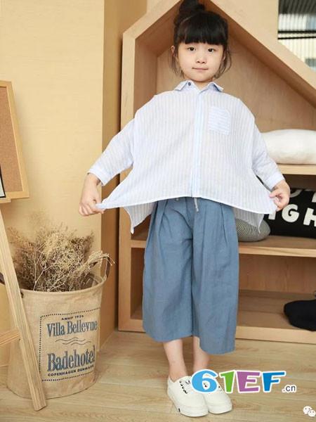 NNE&KIKI童装品牌2018春夏条纹宽松休闲百搭女童衬衫
