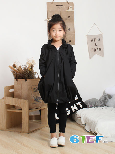 NNE&KIKI童装品牌2018春夏黑色女童时尚百搭长款外衣