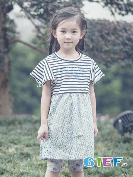 爱佳乐Rag Mart童装品牌2018春夏条纹休闲圆领宽松连衣裙