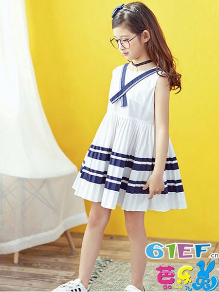 芭乐兔童装品牌2018春夏条纹无袖时尚女童连衣裙