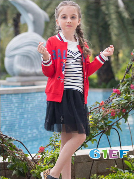 芭乐兔童装品牌2018春夏红色休闲拼接型表达上衣