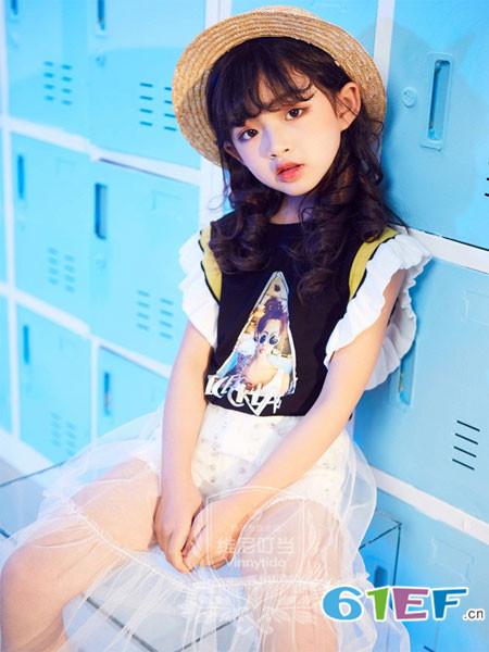 维尼叮当童装品牌2018春夏短袖花边女童时尚拼接上衣