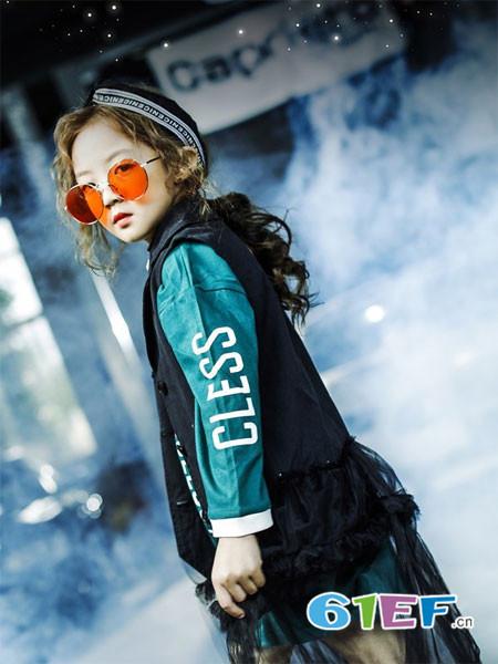 优优巴斯童装品牌2018春夏女童时尚拼接潮流连衣裙