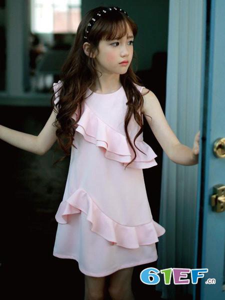 伟尼熊童装品牌2018夏季无袖时尚修身花边连衣裙