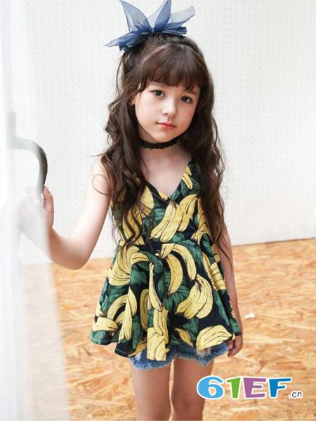 伟尼熊童装品牌2018夏季无袖V领女童可爱清爽上衣
