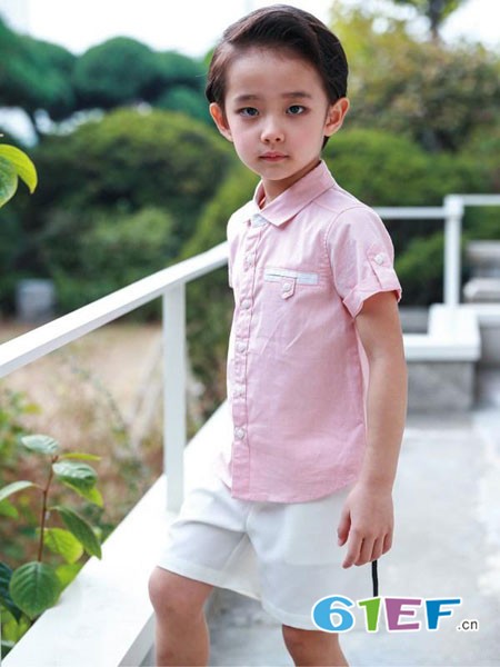 伟尼熊童装品牌2018夏季粉色修身男童百搭衬衫