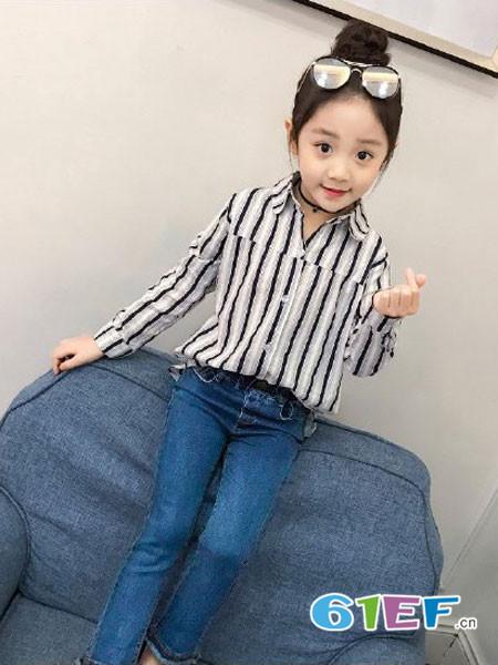 伟尼熊童装品牌2018夏季条纹时尚女童百搭衬衫