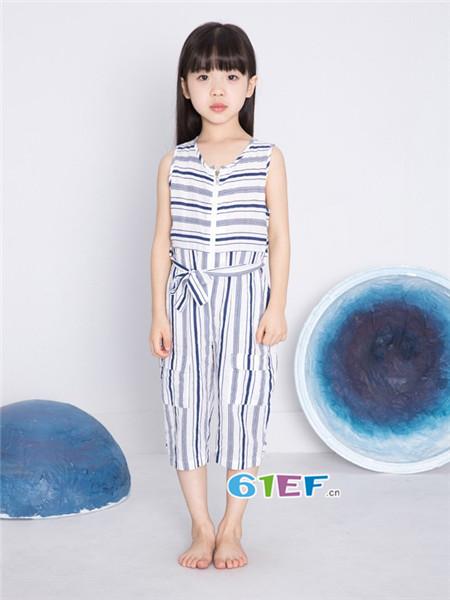 童衣汇童装品牌2018春夏时尚条纹拼接连体裤