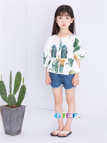 童衣汇童装品牌2018春夏时尚韩式碎花百搭上衣