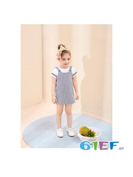 唛吉乐童装品牌2018春夏时尚休闲可爱条纹女背带裙