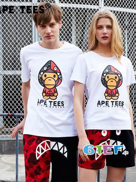 安逸猿情侣亲子装运用其卡通元素和强烈的色彩感冲击视感