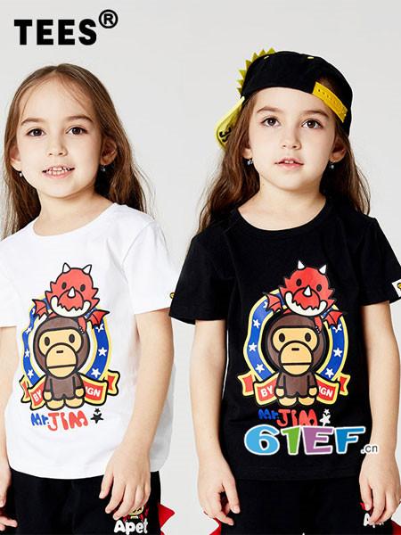 安逸猿情侣亲子2018春夏小恐龙大嘴猿猴圆领纯棉短袖中性宽松T恤