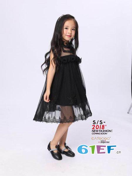 卡姿果果童装品牌2018夏时尚优雅气质透视领连衣裙