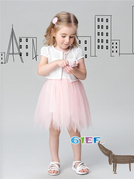 唐米小熊童装品牌2018夏韩式短袖网纱公主裙