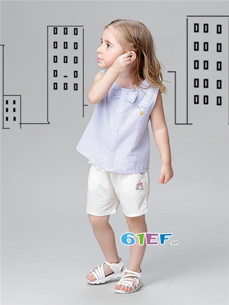 唐米小熊童装品牌2018夏时尚简约无袖女上衣