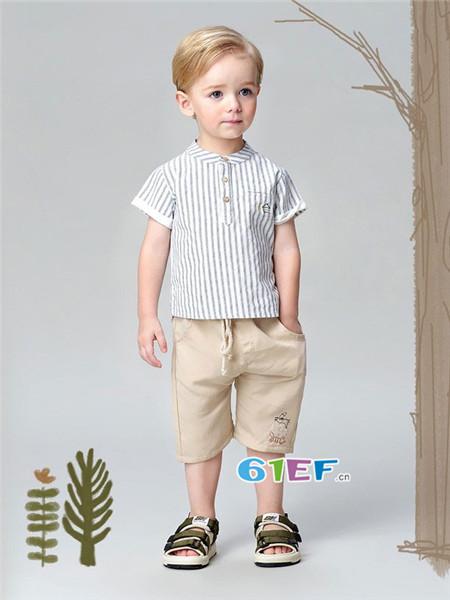 唐米小熊童装品牌2018夏时尚帅气短袖男上衣
