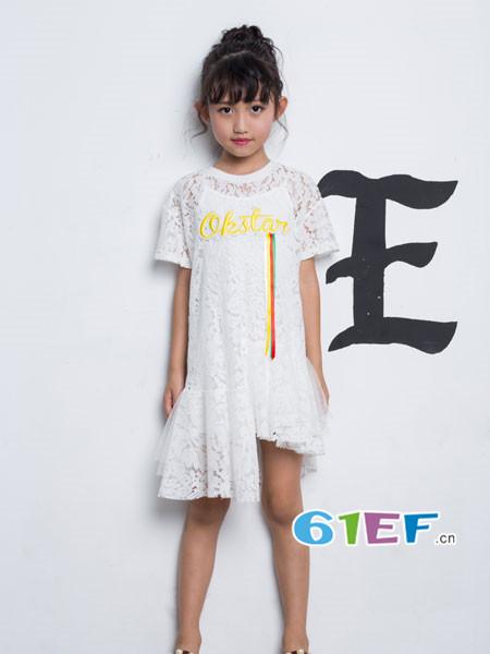 OKstar欧卡星童装品牌2018夏时尚优雅不规则连蕾丝连衣裙