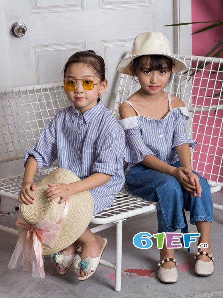 OKstar欧卡星童装品牌2018夏时尚条纹长袖女衬衣