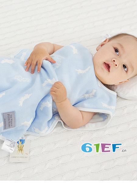 比得兔童装品牌2018春夏纱布睡袋新生婴儿分腿背心式防踢被