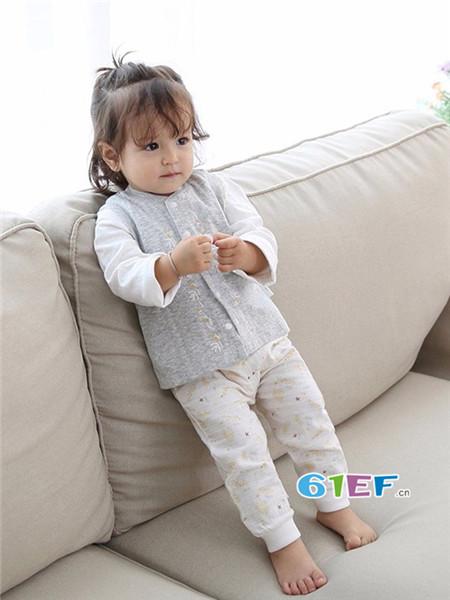 安织爱童装品牌2018春夏舒适休闲开衫内衣套装