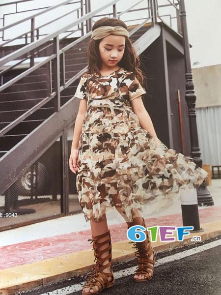 呗呗熊童装品牌2018春夏欧式个性迷彩连衣裙