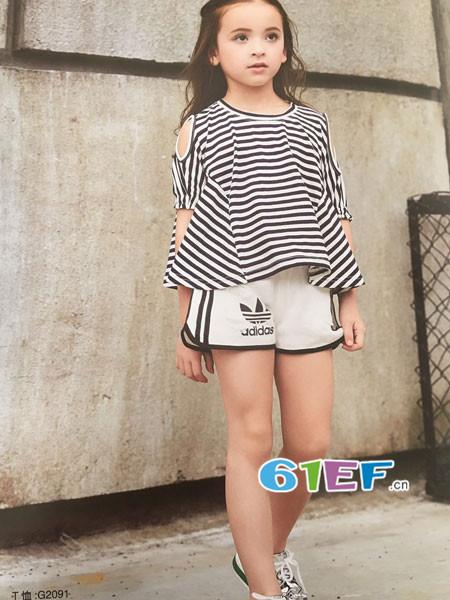 呗呗熊童装品牌2018春夏欧式条纹露肩女T恤