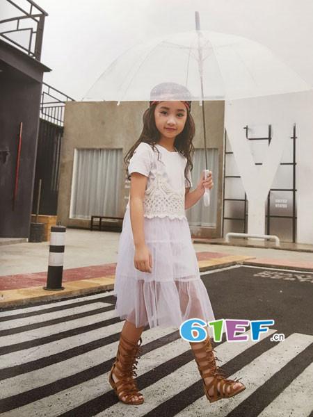 呗呗熊童装品牌2018春夏时尚气质网纱蕾丝拼接连衣裙