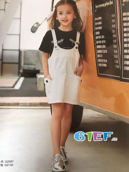 呗呗熊童装品牌2018春夏时尚休闲背带裙
