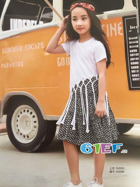 呗呗熊童装品牌2018春夏时尚个性流苏短袖女T恤