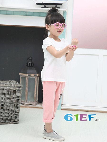 铃铛星童装品牌2018春夏韩式简约花边袖女T恤