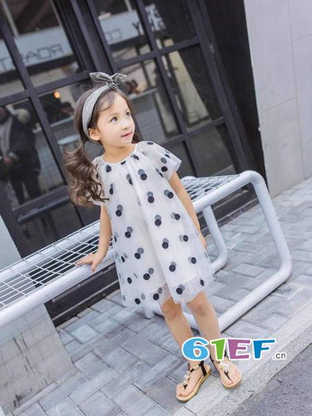 棉花驿站童装品牌2018春夏时尚休闲波点雪纺连衣裙