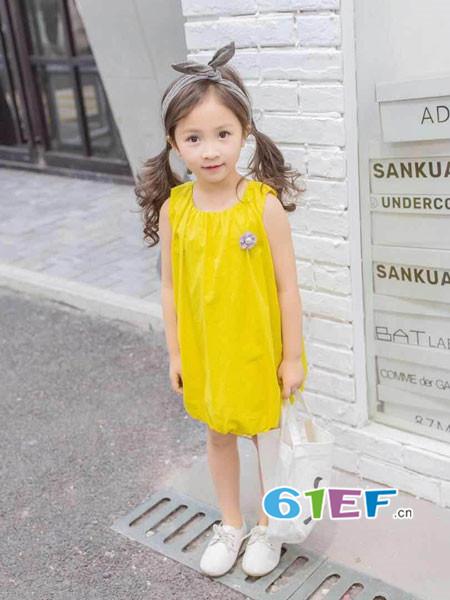 棉花驿站童装品牌2018春夏时尚休闲无袖连衣裙