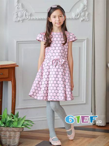 安妮公主童装品牌春夏优雅贵气波点连衣裙