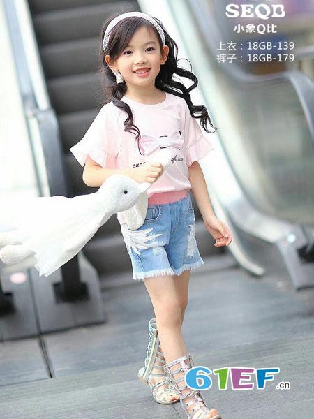 小象Q比童装品牌2018春夏百搭宽松短款短袖T恤潮