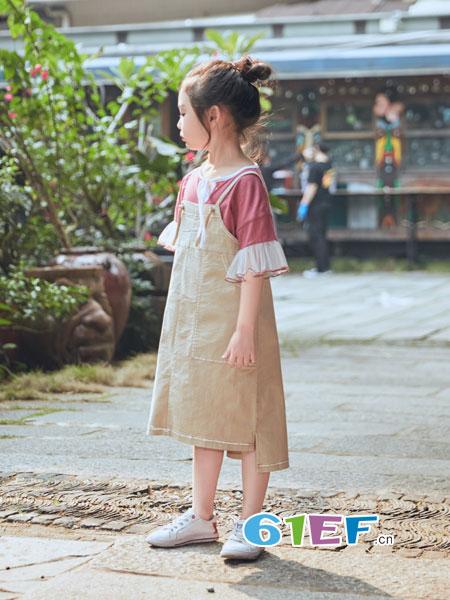 诺麦然NUOMAIRAN童装品牌2018春夏纯色高腰开叉直筒显瘦连衣裙潮