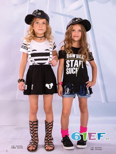 黑白熊童装品牌2018春夏女童套装